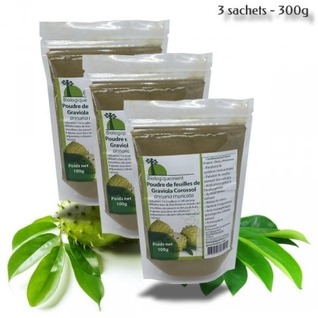 GRAVIOLA Corossol - Poudre de feuilles - Lot de 3
