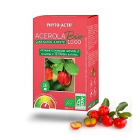 Acerola sans sucre ajoute bio 1000 - Phyto-Actif - Esenka